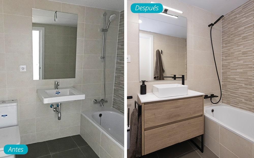 Antes y después mobiliario y grifería en cuarto de baño piso obra nueva.