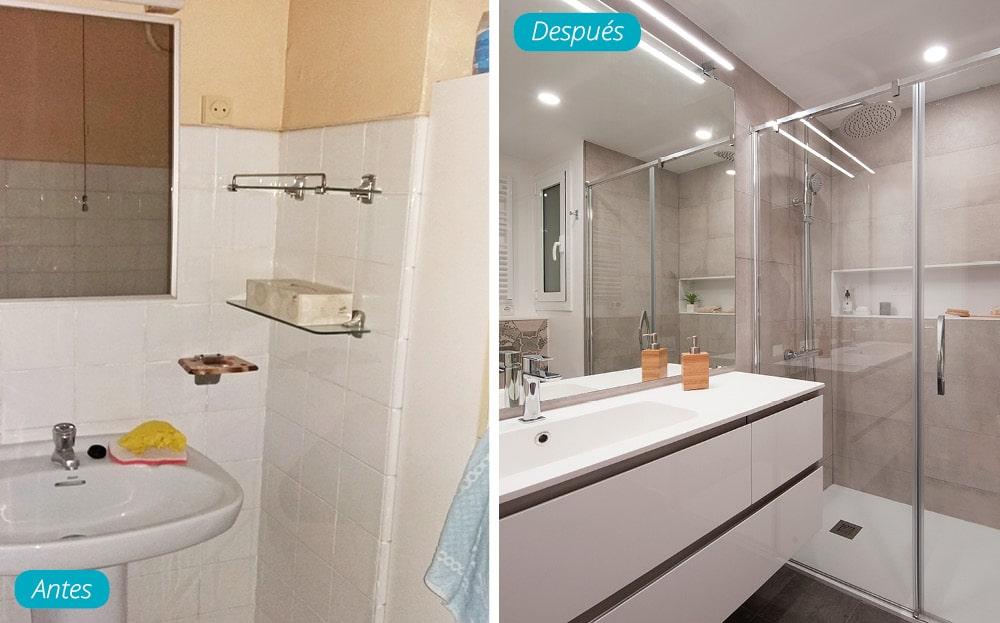 Antes y después mueble lavabo y ducha. Piso antiguo transformado por Sincro.