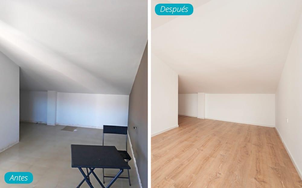 Antes y después buhardilla reforma de casa en Viladencans