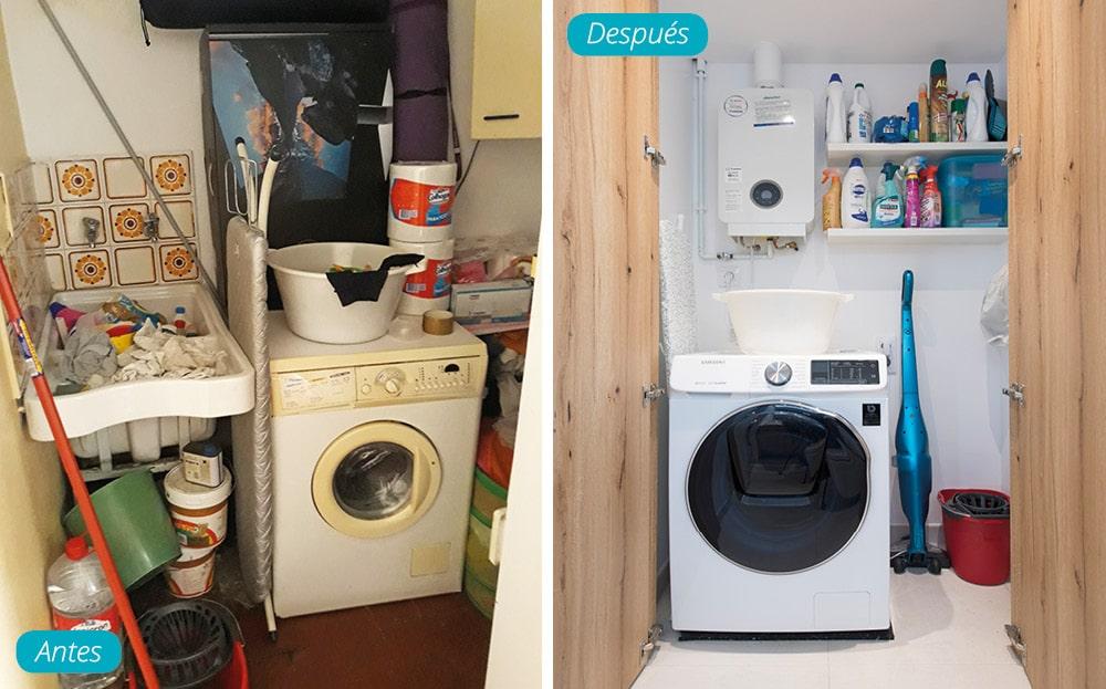 Antes y después zona de lavado dentro de un armario en el baño