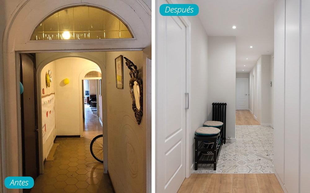 Antes y después pasillo con pavimento combinado cerámica y parquet
