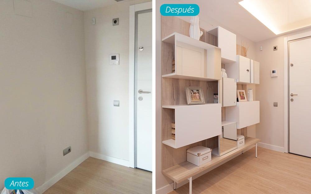 Antes y después mueble recibidor piso obra nueva en Barcelona