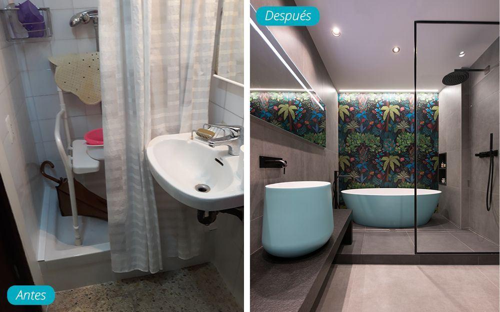 Antes y después baño moderno con bañera exenta. Piso reformado Sincro