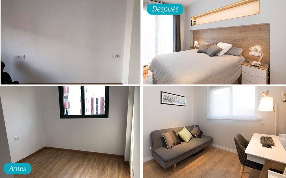 Antes y después dormitorio matrimonio y despacho estilo nórdico