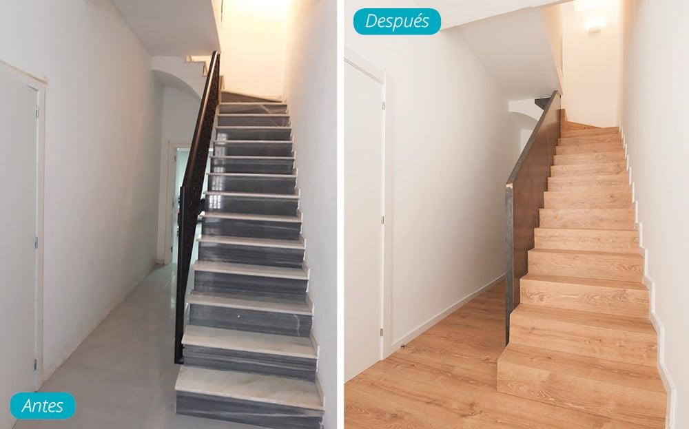 Antes y después escalera reformada en madera y hierro tramo inicial