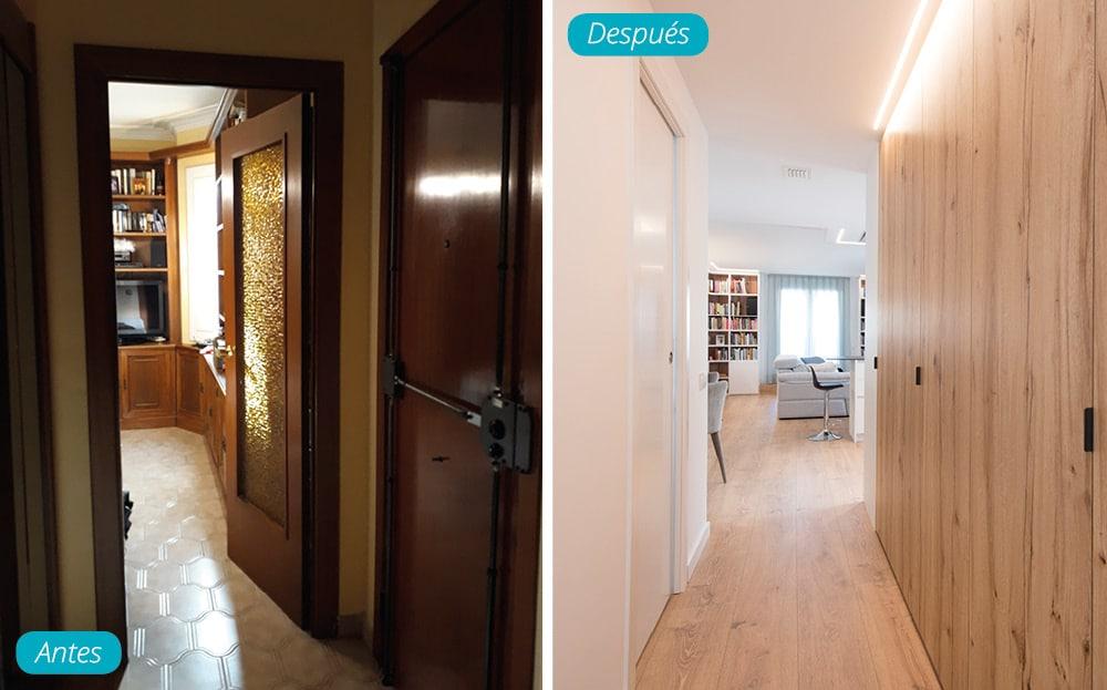 Antes y después pasillo con armario de madera empotrado