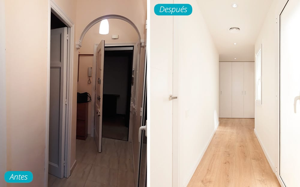 Antes y después dos pisos unidos. Eliminación y cambio de sitio de la puerta de entrada.