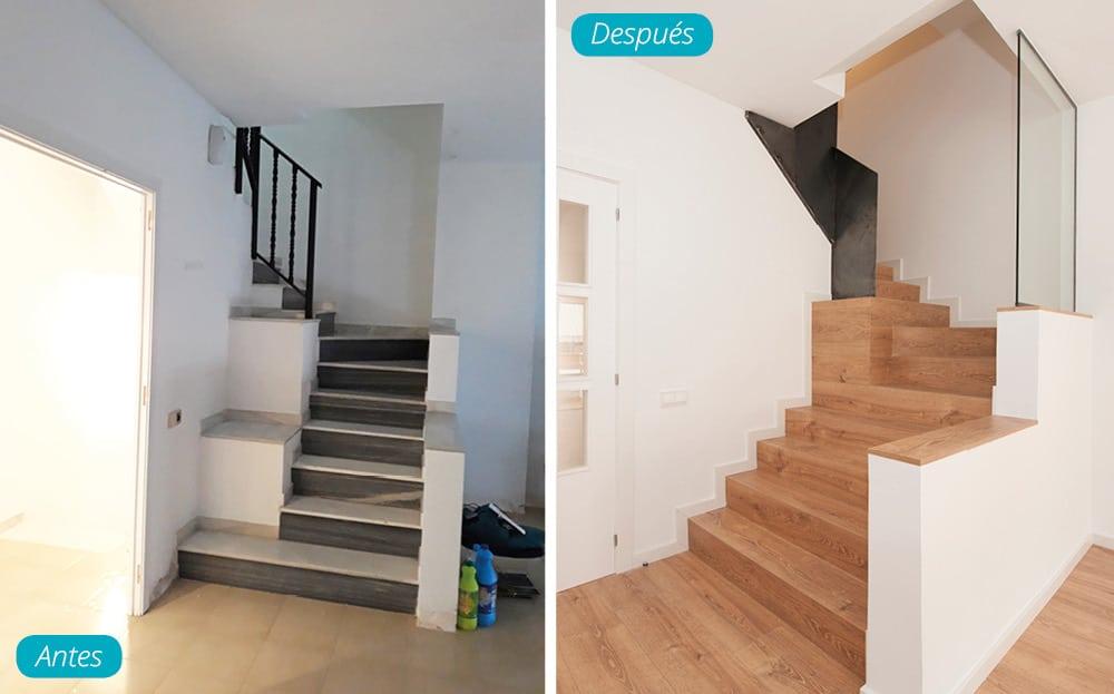 Antes y después escalera reformada en madera y hierro tramo medio