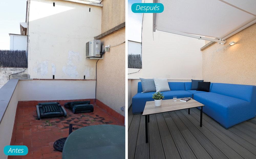 Antes y después terraza ático piso Barcelona