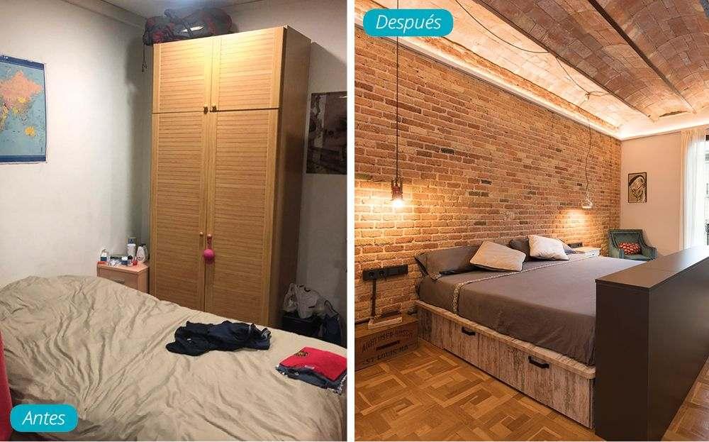 Antes y después dormitorio en casa de estilo industrial. Elementos antiguos restaurados.
