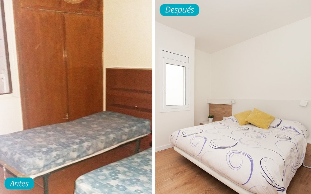 Antes y después dormitorio con cama doble.