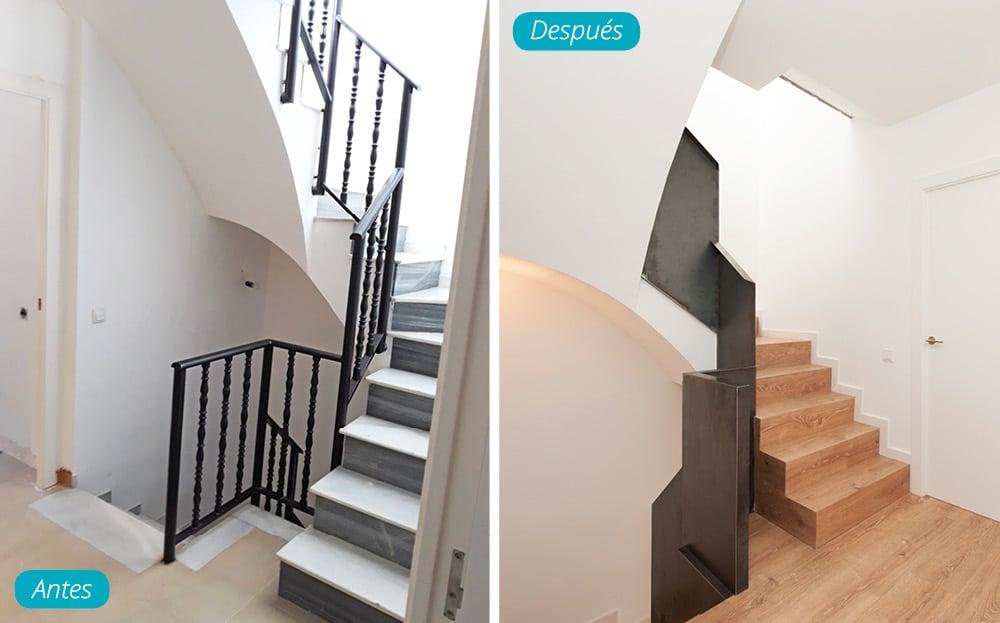 Antes y después escalera reformada en madera y hierro tramo arriba casa