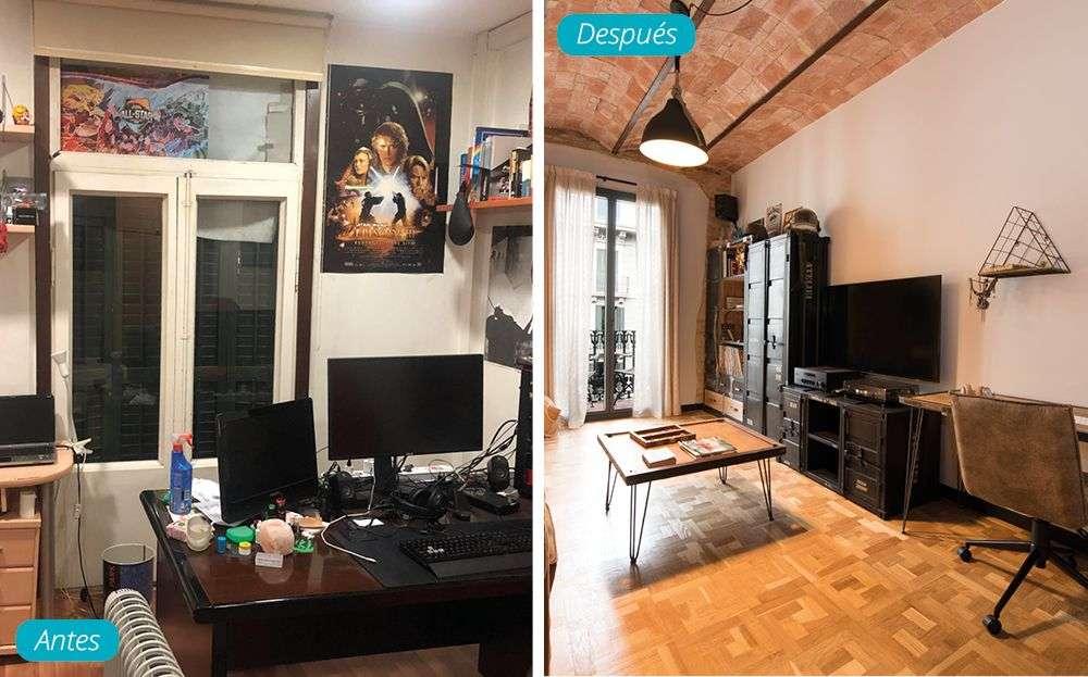Antes y después despacho casa para trabajar y estudiar. Estilo industrial