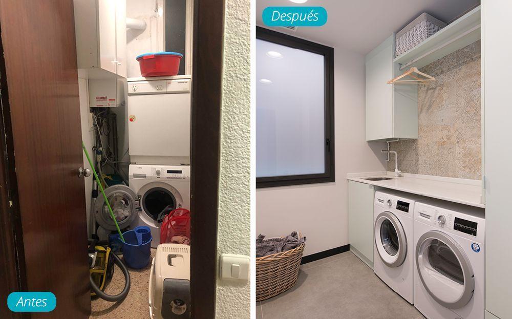 Antes y después cuarto de lavado. Reforma en Barcelona.