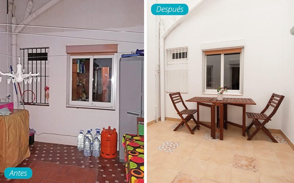 Antes y después comedor en patio interior edificio. Reforma de piso