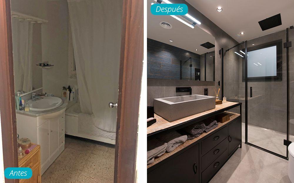 Antes y después baño de estilo industrial en Barcelona - Sincro