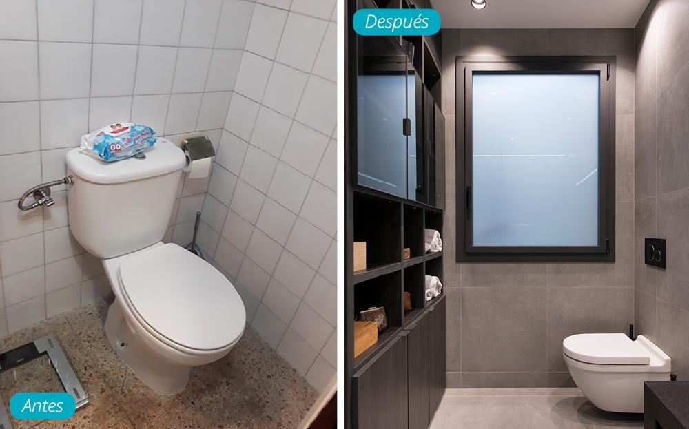 Antes y después zona inodoro del baño