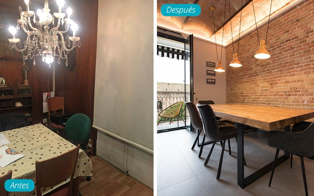 Antes y después comedor mesa de madera estilo industrial y pared ladrillo visto