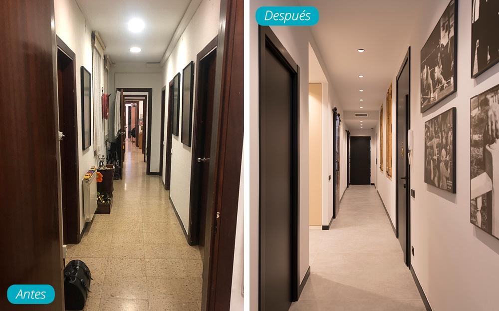 Antes y después pasillo largo de una vivienda reformada
