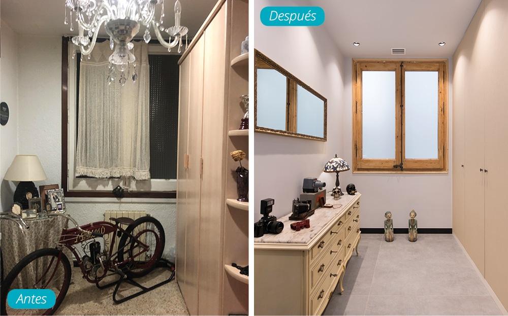 Antes y después con mueble vintage y armario con gran capacidad de almacenamiento