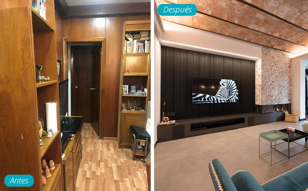 Antes y después salón zona TV estilo industrial con chimenea de gas. reforma en Barcelona. Sincro
