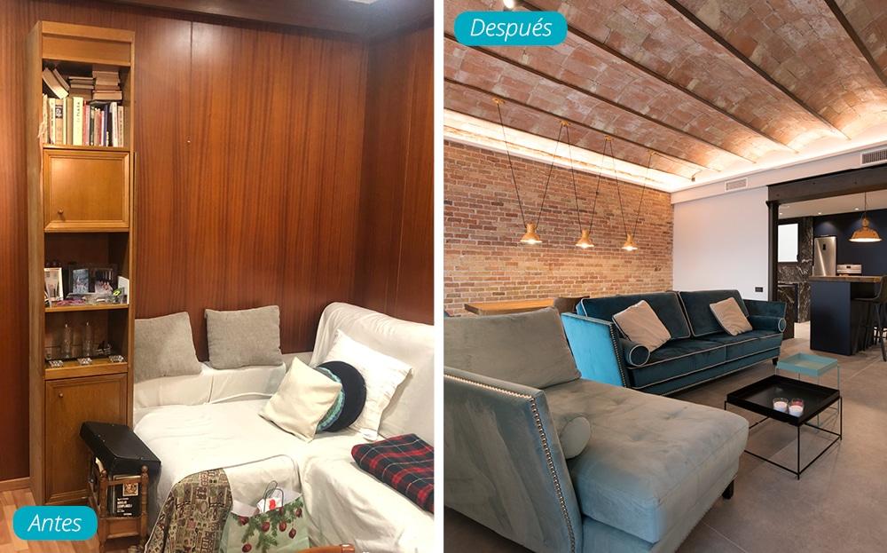 Antes y después salón zona de sofás en piso de estilo industrial y vintage
