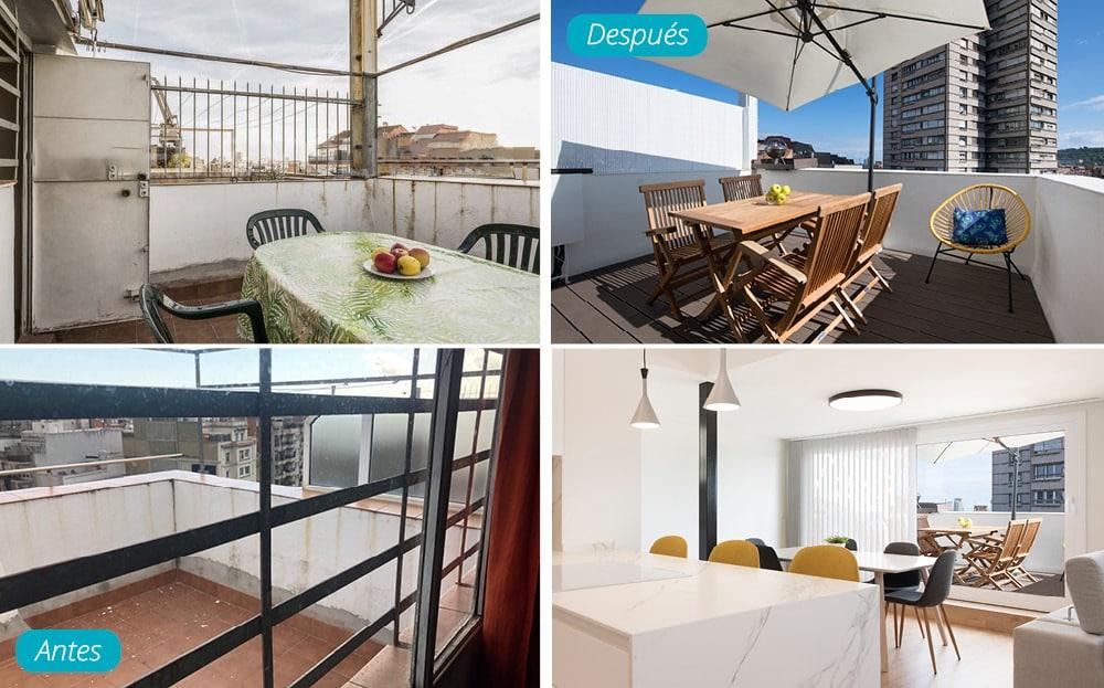 Antes y después reforma de una terraza pequeña en un ático de Barcelona. Sincro