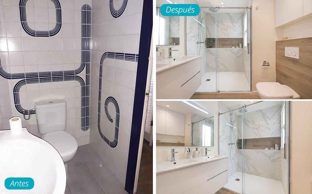 Antes y después baño privado con lavabo de doble pica y ducha. Revestimientos imitación mármol blanco y madera.