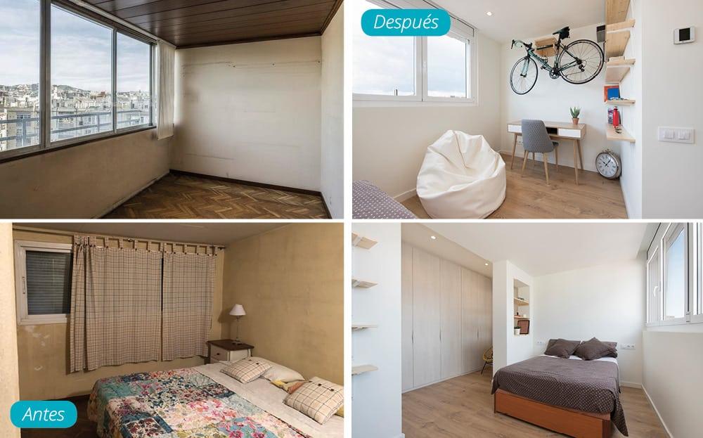 Antes y después dormitorio de invitados con despacho