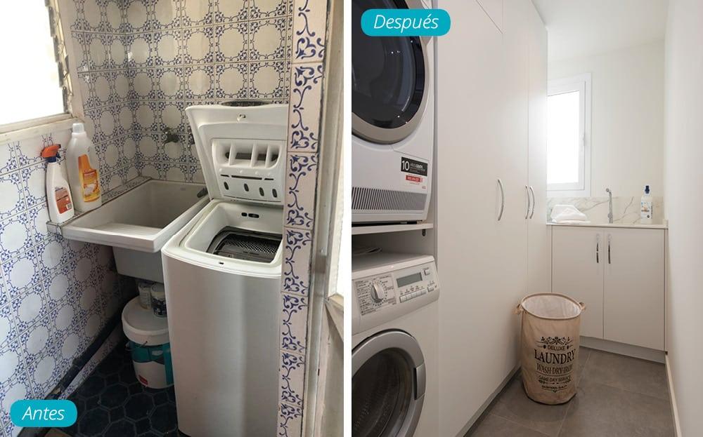 Antes y después cuarto de lavado. Reforma en calle avenida de Roma Barcelona. Sincro
