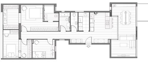 "Plano miniatura distribución interior reforma piso ""Avinguda de Roma"" Barcelona"