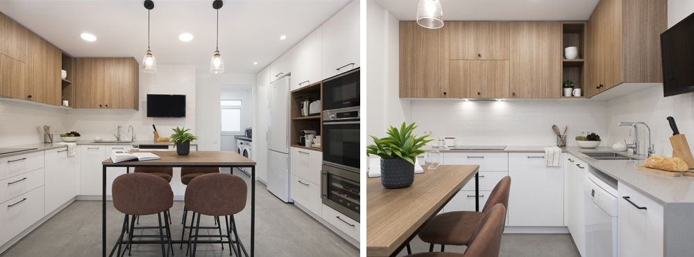 Mesa alta con taburetes en la cocina para desayunos. Reforma Sincro.