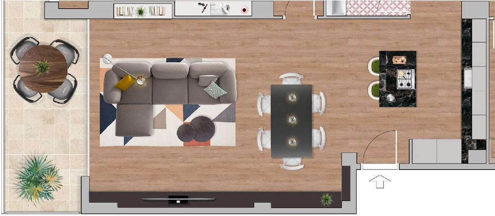 Planta a color de un piso con cocina con isla realizado por interioristas d Sincro