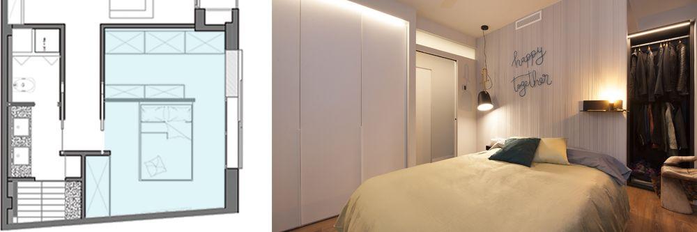 Plànol i foto vestidor darrere de l'capçal llit. Disseny Sincro (Barcelona)