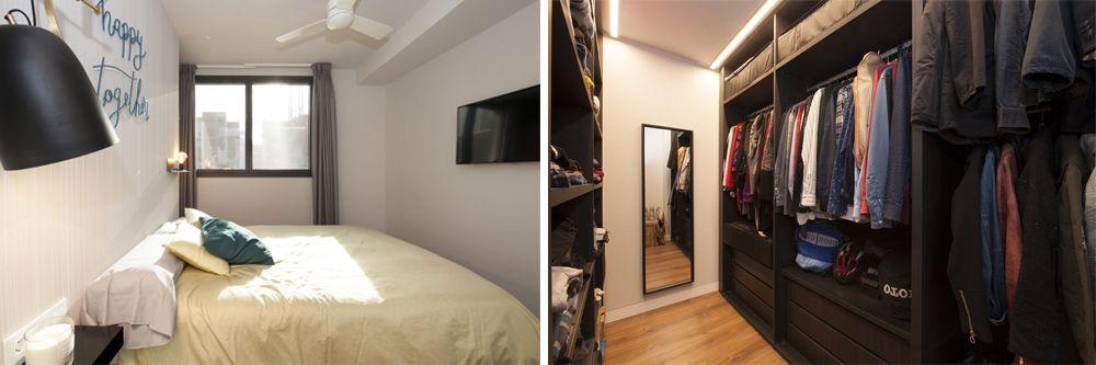 Vestidor darrere de la capçalera. S'accedeix per una banda del llit. Reforma Sincro.