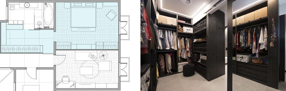 Plànol i foto vestidor entre el bany i el dormitori. Reforma Sincro a Barcelona.