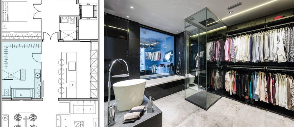 Bany modern amb vestidor a dins. Armari obert amb penjadors camises.