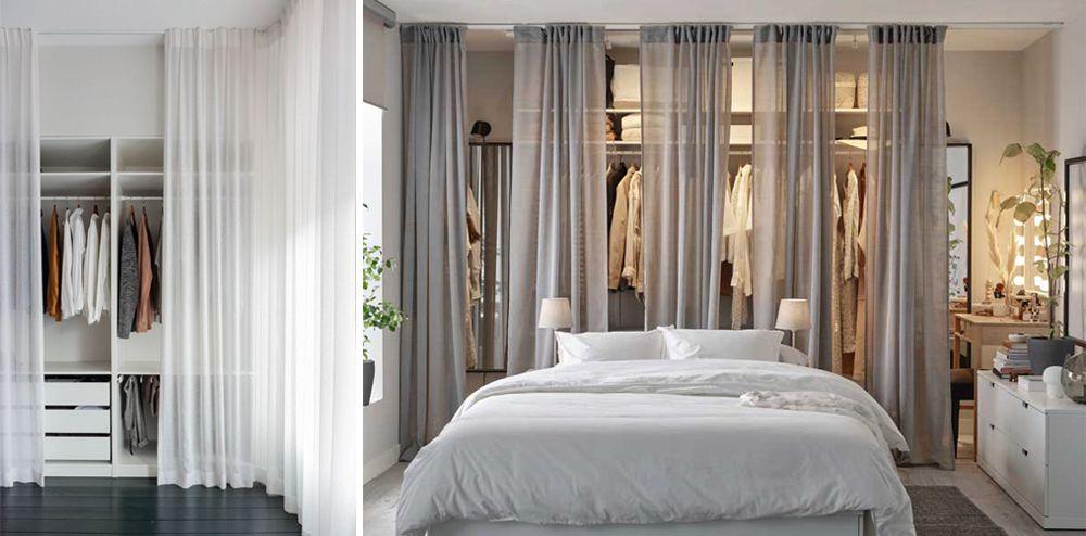 Vestidors amb cortines al dormitori.