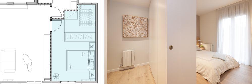 Foto i plànol vestidor amb armari de separador d'ambients. sincro