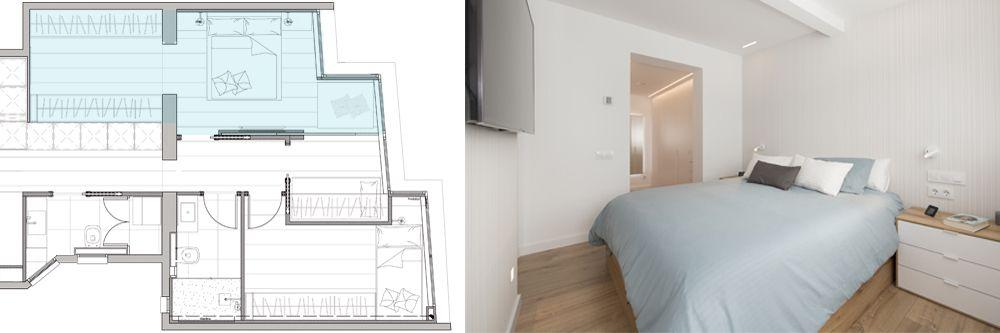 Plànol vestidor en dormitori. Eliminació d'un habitació petita per integrar el vestidor. Reforma Sincro.