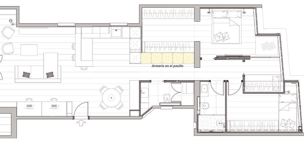 Plànol distribució amb armari encastat al passadís habitatge - Sincro
