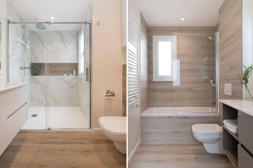 Baño con baldosa cerámica porcelánico imitación madera