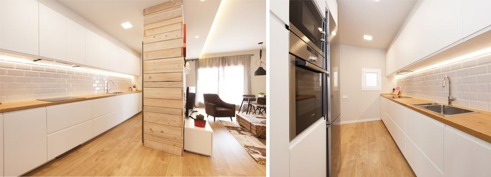 cocina blanca con encimera de madera y parquet
