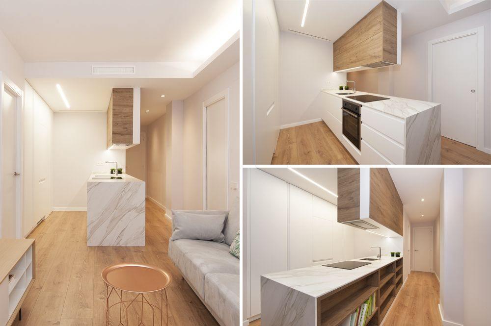 Cocina blanca con mueble alto en madera