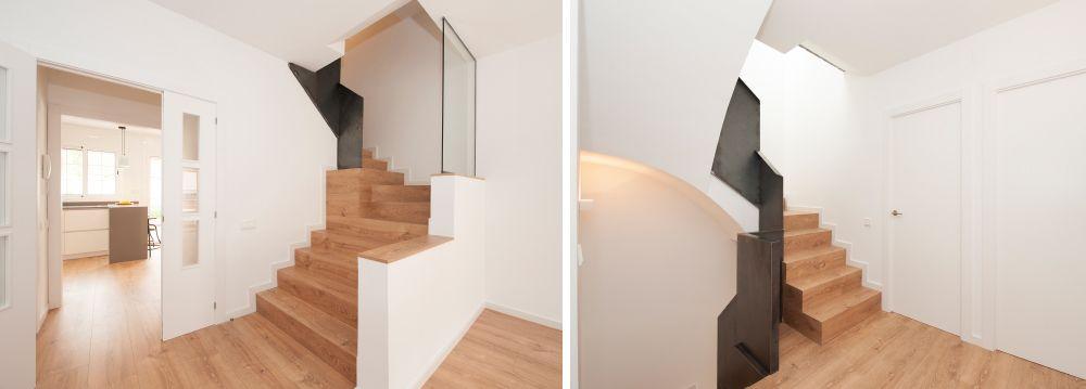 Escalera con escalones (peldaños) de madera en interior de casa