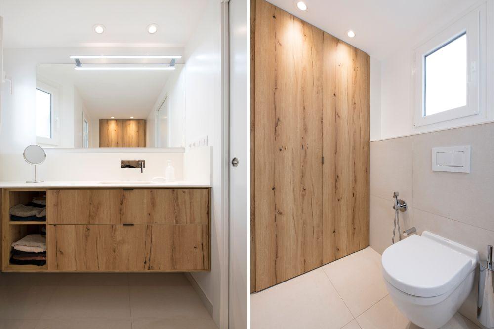 Baño blanco y madera de estilo nórdico