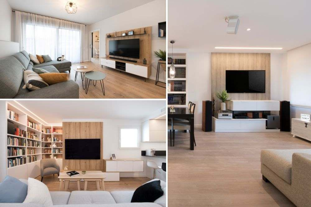 Mueble TV con panel de madera en la pared