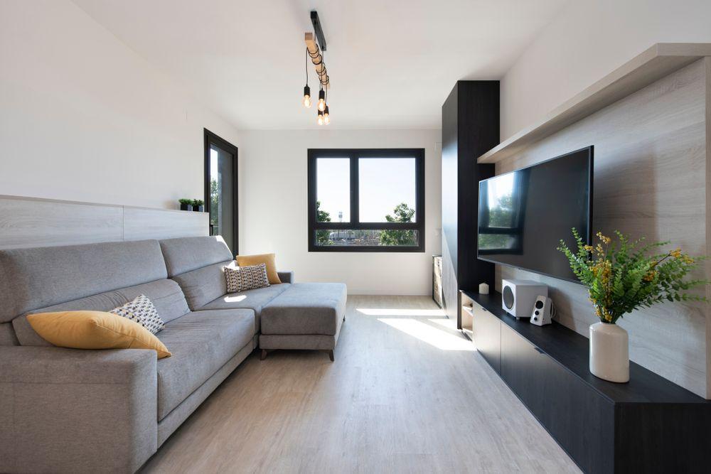 Mobiliario salón fabricado a medida. Proyecto mobiliario piso obra nueva