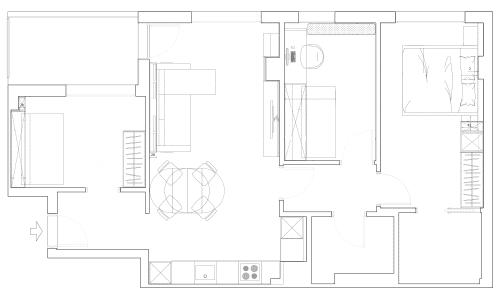 Plànol en planta de la distribució del mobiliari en un pis d'obra nova - Sincro