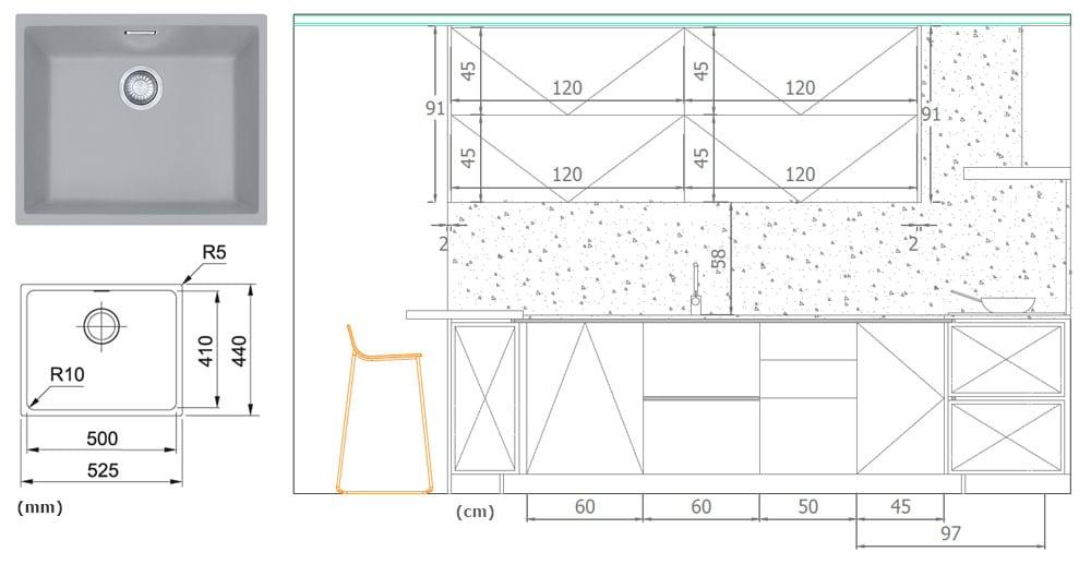 Propuesta de fregadero con alzado de cocina con medidas. Diseño Sincro